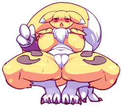 2019 3_fingers 3_toes anthro anus areola bedroom_eyes big_breasts black_sclera blue_eyes blush breasts canid canine claws clitoris crouching digimon digimon_(species) dipstick_tail ears_down fangs female front_view fur half-closed_eyes inviting leaning leaning_back looking_down mammal markings multicolored_fur multicolored_tail navel neck_tuft nipples nude open_mouth pose presenting presenting_crotch presenting_pussy pussy rabbitbrush renamon saliva seductive solo spread_legs spreading sweat toe_claws toes tongue tuft two_tone_fur white_fur yellow_fur