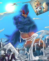 absurd_res anthro arwing avian bird canid canine canis city cum cum_on_face cum_on_ground destruction erection falco_lombardi fox fox_mccloud grin hi_res looking_down looming low-angle_view macro male mammal nintendo penis smile soina star_fox stomping video_games wolf wolf_o'donnell