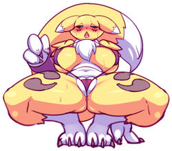 2019 3_fingers 3_toes anthro bedroom_eyes big_breasts bikini black_sclera blue_eyes blush breasts camel_toe canid canine claws clothed clothing crouching digimon digimon_(species) dipstick_tail ears_down fangs female front_view fur half-closed_eyes leaning leaning_back looking_down mammal markings micro_bikini midriff multicolored_fur multicolored_tail navel neck_tuft nipple_outline open_mouth pose rabbitbrush renamon saliva seductive skimpy sling_bikini solo spread_legs spreading sweat swimsuit toe_claws toes tongue tuft two_tone_fur under_boob white_fur yellow_fur