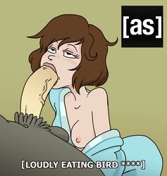 artist_request bathrobe bird_person brown_hair eyelashes fellatio half-closed_eyes looking_pleasured medium_hair off_shoulder oral penis rick_and_morty subtitle subtitles tagme tammy_gueterman