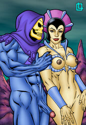 arm_grab big_balls big_belly big_breasts big_muscles big_nipples big_penis blue_penis blue_skin comic cowl evil-lyn grabbing grabbing_from_behind hairless_pussy hanging_balls hanging_cock he_man helmet hood huge_areolae huge_balls huge_breasts huge_cock huge_cock huge_muscles huge_nipples huge_testicles leandro_comics lipstick looking_at_partner looking_at_viewer muscles muscular muscular_male nude penis red_lipstick shaved_pussy shaved_pussy skeleton skeletor smile standing