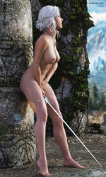 3d against_wall areolae barefoot breasts ciri female female_only masturbation nipples outside solo soulartmatter sword the_witcher the_witcher_3 the_witcher_3:_wild_hunt white_hair