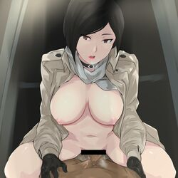 1boy 1girl ada_wong areolae bangs bar_censor big_breasts black_choker black_gloves black_hair breasts cafekun censor_bar censored choker clothed_female_nude_male coat cowgirl_position cum cum_in_pussy dark-skinned_male dark_skin eyebrows_visible_through_hair female gloves grey_coat heavy_breathing highres indoors interracial jacket large_breasts leaning_forward long_sleeves looking_at_viewer male_pov mostly_nude naked_coat navel nipples nude open_clothes open_coat open_mouth penis pink_lips pov pussy_juice red_eyes resident_evil resident_evil_4 scarf sex short_hair solo_focus spread_legs straddling straight sweat swept_bangs trench_coat vaginal_penetration wet