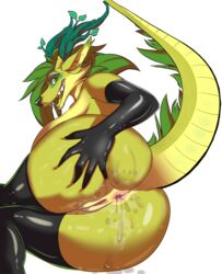 anthro anus ass big_breasts big_butt breasts canine cum cum_on_ass dragon female gloves hand_on_ass horns looking_at_viewer presenting presenting_hindquarters pussy raised_tail reptile seductive sideboob simple_background solo stockings thick_thighs voluptuous
