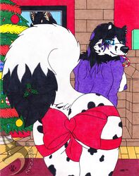 2019 absurd_res anthro ass balls bayzan bayzan_(artist) big_butt big_tail black_fur blush breasts brown_fur candy candy_cane canid canine canis christmas christmas_tree clothing dalmatian domestic_dog ear_piercing fireplace food fox frostyfoxxatian fur german_shepherd girly hair herm herm/solo heterochromia hi_res holidays hoodie hybrid intersex lights long_hair mammal mistletoe nipples ornaments picture_frame piercing plant portrait purple_gums smile spots submissive tan_fur tongue tongue_out traditional_media_(artwork) tree were werecanid werecanine werewolf white_fur wolf yellow_fur