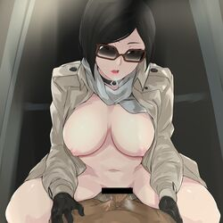 1boy 1girl ada_wong areolae bangs bar_censor big_breasts black_choker black_gloves black_hair breasts brown-framed_eyewear brown_eyes cafekun censor_bar censored choker clothed_female_nude_male coat cowgirl_position cum cum_in_pussy dark-skinned_male dark_skin eyebrows_visible_through_hair female glasses gloves grey_coat heavy_breathing highres indoors interracial jacket large_breasts leaning_forward long_sleeves looking_at_viewer male_pov mostly_nude naked_coat navel nipples nude open_clothes open_coat open_mouth penis pink_lips pov pussy_juice red_eyes resident_evil resident_evil_4 scarf sex short_hair solo_focus spread_legs straddling straight sunglasses sweat swept_bangs trench_coat vaginal_penetration wet