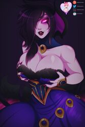 big_breasts black_hair choker cleavage clothed glowing_eyes holding_breasts horny law-zilla league_of_legends lipstick morgana nail_polish