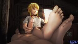 3d animated barefoot erection feet female foot_fetish handjob hyrule_warriors lesdias linkle looking_at_viewer male no_sound penis pov_feet source_filmmaker straight the_legend_of_zelda toes webm