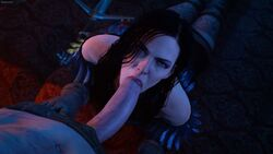 1boy 3d black_hair blue_eyes fellatio female gloves hands-free looking_at_viewer looking_up penis pov scar sfmlover22 stockings sword the_witcher the_witcher_3 the_witcher_3:_wild_hunt yennefer