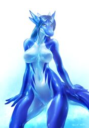 2017 anthro aquatic_dragon blue_hair breasts brown_eyes digital_media_(artwork) dragon equus female gradient_background hair horn looking_at_viewer marine non-mammal_breasts nude pussy simple_background solo wide_hips