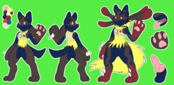 1boy absurd_res alternate_color animal_genitalia anthro canid claws clothing erection fully_sheathed furry hi_res horn kingdraws knot male male_only mammal mega_evolution mega_lucario model_sheet nintendo open_mouth original_character pants paws penis pokémon_(species) pokemon sheath testicles video_games
