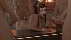3d 4boys breasts brigitte brown_eyes brown_hair buttjob female gangbang male nude overwatch penis straight the_halfmexican tongue_out