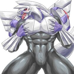 1boy 2019 abs absurd_res alternate_color animal_genitalia anthro anthrofied blush claws dragon genital_slit hi_res legendary_pokémon looking_at_viewer male male_only muscular muscular_male navel nintendo original_character palkia pokémon_(species) pokemon pokemon_dppt pose scalie seductive simple_background slit solo thick_thighs tongue video_games weedwolfeatmeat white_background wide_hips