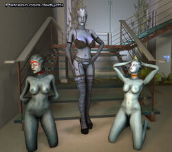 3d 3d_(artwork) alien asari breasts digital_media_(artwork) female female/female footwear high_heels ladychi legwear liara_t'soni lingerie mass_effect nude pussy samara sex source_filmmaker stockings yuri