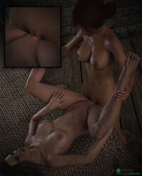 2girls 3d areolae black_hair breasts female female_only holding_legs lying lying_on_back missally nipples nude pussy red_hair shaved_pussy spread_legs standing sweat the_witcher the_witcher_3 tribadism triss_merigold yennefer yuri