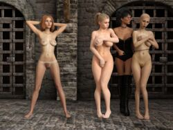 3d 4girls artist_request barefoot bondage breasts clothed_female_nude_female covering_breasts covering_crotch covering_self embarrassed female femdom femsub hands_behind_head lezdom multiple_girls multiple_subs nude riding_crop shaved_head yuri