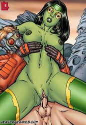 big_belly big_breasts big_muscles big_nipples big_penis black_hair blonde_hair breast_grab breast_hold breast_press breast_squeeze breasts earring earrings from_below gamora gloves green_body green_lips green_skin helmet huge_areolae huge_balls huge_breasts huge_cock huge_muscles huge_nipples huge_testicles interspecies jacket leandro_comics marvel marvel_comics mask masked muscular_female on_back peter_quill reverse_cowgirl_position riding sitting sitting_on_lap sitting_on_penis sitting_on_person starlord vaginal_insertion vaginal_penetration vaginal_sex white_eyes