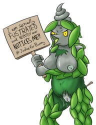 1girl 2019 angry anthro anthrofied arthropod belly big_breasts black_skin breasts burmy chubby clothed clothing digital_drawing_(artwork) digital_media_(artwork) english_text female female_only fur furry furry_only green_skin half-closed_eyes hi_res holding in_heat insect large_breasts leafs looking_at_viewer nintendo nipples nude open_mouth partially_clothed plant pokémon_(species) pokemon pokemon_bw pokemorph pussy pussy_juice sign simple_background smeargle20 solo standing text tongue video_games wet what white_background yellow_eyes