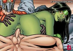 ass ass_grab ass_up big_ass big_balls big_butt big_muscles big_penis black_hair blonde_hair cowgirl_position earrings from_below gamora grabbing grabbing_ass green_body green_lips green_skin helmet huge_ass huge_balls huge_butt huge_cock huge_muscles huge_testicles interspecies leandro_comics looking_at_viewer looking_back lying lying_on_person marvel marvel_comics mask masked muscular_female on_top penis penis_out peter_quill riding sitting smile smiling smirk starlord vaginal_insertion vaginal_penetration vaginal_sex white_eyes