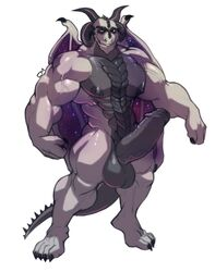 2015 abs anthro balls biceps big_balls big_muscles big_penis black_nipples black_penis black_scales claws cursedmarked curved_horn dragon erection facial_piercing flexing fur furry furry_only gay grey_scales huge_cock looking_at_viewer male male/male male_on_male male_only muscular muscular_male nipples nose_piercing nose_ring open_mouth partially_retracted_foreskin pecs penis piercing presenting scales simple_background smile solo space spines standing thrax_del'rreth uncut vein white_background wings yaoi