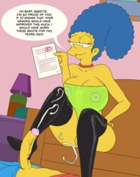 bart_simpson big_breasts bootjob breasts cleavage incest issue_69 large_breasts marge_simpson milf mother penis see-through text the_simpsons thighhighs