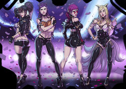 4girls ahri akali alternate_costume ass breasts cleavage evelynn female female_only ganassa k/da_ahri k/da_akali k/da_evelynn k/da_kai'sa k/da_series kai'sa league_of_legends looking_at_viewer looking_back sunglasses
