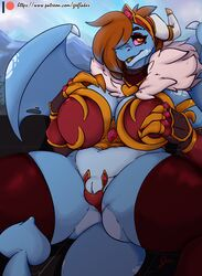 2019 absurd_res alternate_species amber_eyes anthro armor arnachy breasts brown_hair clothing digital_media_(artwork) dragon dragonification female geeflakes_(character) hair hair_over_eye hi_res horn legwear open_mouth patreon pussy solo spade_tail thick_thighs thigh_highs url wings