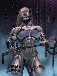 abs blonde_hair breasts busty cleavage do-s dominatrix grey_eyes large_breasts leather looking_at_viewer mask muscles muscular muscular_female onepunch_man rokupan spikes thong veins whip
