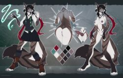 2019 animal_genitalia animal_penis anthro anus ass balls black_hair breasts brown_fur brown_tail canid canine canine_penis canis close-up clothed clothing coyote dickgirl digital_media_(artwork) erection eyeshadow facial_markings fantasy female fluffy fluffy_tail front_view fur green_eyes grey_fur hair harry_potter inner_ear_fluff intersex knot legwear long_ears long_hair long_legs magic makeup mammal marcy markings model_sheet multicolored_fur multicolored_hair multicolored_tail necktie nipples nude penis pussy rear_view red_hair school_uniform skirt slytherin smile solo uniform unistaart wand white_fur white_tail