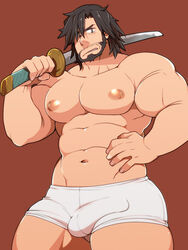 abs bara beard big_breasts black_hair bulge busty erection erection_under_clothes facial_hair frown grey_eyes half_dressed hand_on_hip heishiro_mitsurugi light_skin looking_at_viewer male male_only muscular nipples pecs solo soul_calibur sword takezamurai thick_thighs underwear yaoi