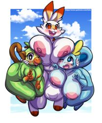 2019 anthro anthrofied areola ass belly big_breasts big_butt biped blue_eyes blush breasts deep_navel digital_media_(artwork) fabianoferreira female grookey group huge_breasts looking_at_viewer navel nintendo nipples nude open_mouth open_smile orange_eyes pokémon_(species) pokémon_(species)_only pokémorph pokemon pokemon_ss pussy scorbunny slightly_chubby smile sobble teeth thick_thighs tongue video_games voluptuous wide_hips