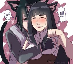 1boy bbw big_breasts black_eyes black_hair blue_hair blush boruto:_naruto_next_generations breast_grab breast_squeeze breasts busty cat_ears cat_tail closed_eyes clothing female female from_behind from_behind_position fully_clothed hand_on_breast hyuuga_hinata looking_at_viewer male mature_female milf naruto naruto:_the_last naruto_shippuden sasuke_uchiha straight tae-yonhye uchiha_sasuke