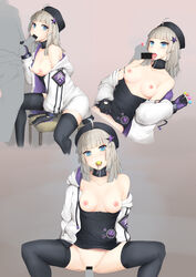 1boy aa-12_(girls_frontline) absurdres ahoge areolae arm_support bags_under_eyes bangs bar_censor black_choker black_gloves black_hat black_legwear black_shirt blue_eyes blunt_bangs bottomless breasts candy censored chair choker collarbone cum cum_in_mouth cum_in_pussy cum_on_body cum_on_breasts cum_on_upper_body disembodied_penis drawstring eyebrows_visible_through_hair fellatio female food girls_frontline gloves grey_hair hair_ornament hat heart highres hood hooded_jacket jacket lollipop long_sleeves looking_at_viewer lying medium_breasts multiple_views nipples no_bra no_panties off_shoulder on_back open_clothes open_jacket open_mouth oral penis ribbed_shirt scwibbles sex shirt shirt_pull sitting spread_legs star star_hair_ornament straight thighhighs tongue tongue_out vaginal_penetration white_jacket zipper zipper_pull_tab