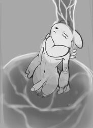 2019 anthro balls bathing closed_eyes digimon digimon_(species) erection greyscale high-angle_view humanoid_penis male markings monochrome navel neck_tuft nude penis renabu renamon solo standing tuft water waterfall