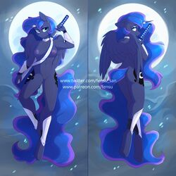 2019 alicorn anthro areola ass breasts cutie_mark digital_media_(artwork) equid equine feathered_wings feathers female fensu-san friendship_is_magic full_moon hair hi_res horn long_hair looking_at_viewer mammal melee_weapon moon my_little_pony nipples princess_luna_(mlp) pussy sword weapon wings