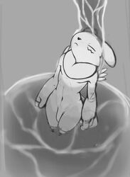 2019 anthro bathing closed_eyes digimon digimon_(species) flaccid greyscale high-angle_view humanoid_penis male markings monochrome navel neck_tuft nude penis renabu renamon solo standing tuft water waterfall