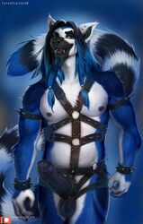 anthro big_penis blue_eyes blue_fur blue_hair cock_ring ear_piercing erection foreskin fur hair harness humanoid_penis leather lemur long_hair lune male mammal nipple_piercing nipples open_mouth penis piercing precum primate ring-tailed_lemur skull solo spiked_armband spiked_cuffs spikes standing teeth totesfleisch8 uncut wrist_cuff