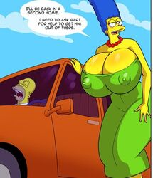 big_breasts blue_hair breasts dress enormous_breasts green_dress homer_simpson marge_simpson milf the_simpsons voluptuous yellow_skin