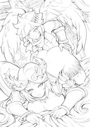 black_and_white breasts cleavage doggy_style female head_down_ass_up line_art male monochrome nintendo palutena pit pit_(kid_icarus) reiq size_difference wings