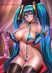 badcompzero big_breasts bikini blue_hair blush breasts collar female female_only gloves large_breasts league_of_legends sling_bikini solo sona thighhighs twintails