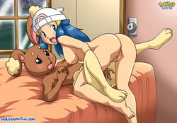 2girls anthro ass beanie bed bent_over blue_eyes blue_hair blush breasts buneary dawn_(pokemon) female female_only fingering furry hair_ornament hat highres human indoors interspecies long_hair looking_at_another looking_at_viewer looking_back lying medium_breasts moaning multiple_females multiple_girls nintendo nipples nude on_back on_bed open_mouth pokemon pokemon_(anime) pokemon_(game) pokemon_dppt pokepornlive pussy shiny_hair shiny_skin sideboob small_breasts uncensored white_hat window yuri