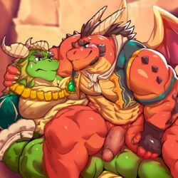 2018 anthro anthro_on_anthro barazoku biceps big_biceps big_muscles big_pecs blush bushy_eyebrows clothing delbin_(spyro) dragon duo erection gloves green_body hand_on_thigh hi_res horn humanoid_penis istani jewelry looking_at_partner male male/male muscular muscular_male necklace necktie nestor_(spyro) pecs penis red_body reptile scalie sitting smile spikes spyro_reignited_trilogy spyro_the_dragon thick_thighs vein vest video_games wings