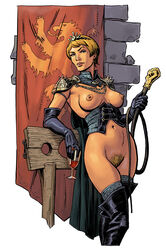 1girls a_song_of_ice_and_fire boots cersei_lannister dominatrix elbow_gloves female female_only game_of_thrones gloves leather pinup solo