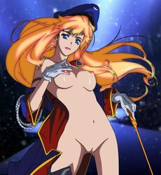 bangs blonde_hair blue_coat blue_eyes blue_hat blurry blurry_background breasts cleft_of_venus coat contrapposto earrings ebata_ryouma female floating_hair gloves hat jewelry large_breasts lipstick long_hair looking_at_viewer macross macross_frontier makeup medium_breasts military military_uniform naked_coat off_shoulder open_clothes open_coat peaked_cap pink_lips pink_lipstick sheryl_nome solo space standing star_(sky) third-party_edit uncensored uniform white_gloves