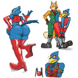 anthro ass avian ball_gag ball_gag_unused beak big_butt bird blush canid canine clothed clothing crossdressing duo erection falco_lombardi footwear fox fox_mccloud gag grinding hicanyoumooforme high_heels legwear male male/male mammal nintendo red_ball_gag shoes simple_background smile star_fox teasing thick_thighs video_games white_background