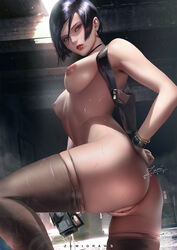 absurdres ada_wong ass black_hair breasts capcom cleavage female female_only gun highres holster looking_at_viewer looking_back nipples nude pussy resident_evil resident_evil_2 short_hair solo sweat thighhighs weapon zumi