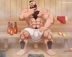 2019 abs areola bara barazoku beard beer biceps big_feet body_hair bulge capcom clothing facial_hair hair hairy_body human looking_at_viewer lovkuma male manly mostly_nude muscles navel nipples pecs pubes pubic_hair sauna scar sitting solo spread_legs spreading street_fighter sweat thick_thighs topless towel triceps video_games zangief