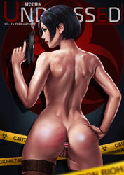 ada_wong anal_insertion ass black_hair butt_plug capcom dandon_fuga female gun hand_on_hip highres pussy resident_evil resident_evil_2 sex_toy short_hair solo spank_marks standing thighhighs weapon