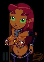 2018 belly_piercing clitoris_piercing collar color commission corruption cowbell cowboy_hat digital_media_(artwork) drugged drugs earrings female green_eyes highres injection lactation latex latexity milking milking_machine navel_piercing nipple_piercing nose_piercing nose_ring red_hair starfire teen_titans uncensored
