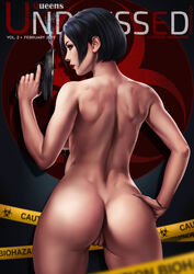 absurd_res ada_wong ass back_view black_hair breasts dandon_fuga female gun lactation looking_to_the_side milk nude pregnant pussy red_lipstick resident_evil resident_evil_2 short_hair smoking_gun standing uncensored weapon